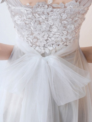 Simple Wedding Dress 2021 A Line Jewel Neck Sleeveless Bows Lace Tulle Bridal Dresses_5