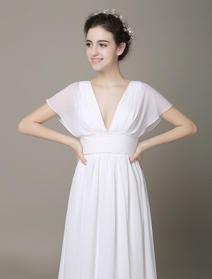 Plunging Chiffon Beach Wedding Dress A-Line Ivory V-Neck Pleated Belt Short Sleeves Bridal Dress With Court Train Exclusive_4
