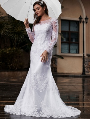 Lace Wedding Dress Ivory White Jewel Neck Long Sleeves With Train Tulle Bridal Gowns Maxi Wedding Dress_3