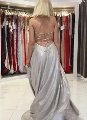Spaghetti Straps Sparkly Sequins Aline Party Dress Sleeveless V-Neck Evening Dress_4