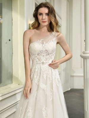 Bridal Dress 2021 One Shoulder Sleeveless Buttons Bridal Dresses With Train_8