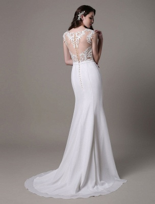 Vintage Wedding Dress Lace And Chiffon Sheath With Stunning Bateau Illusion Neckline And Illusion Back Exclusive_7