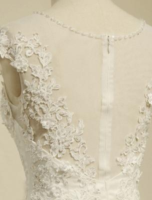 High Qulity Spitze Meerjungfrau Brautkleid Illusion Chaple Zug Elfenbein Perlen Brautkleid_4