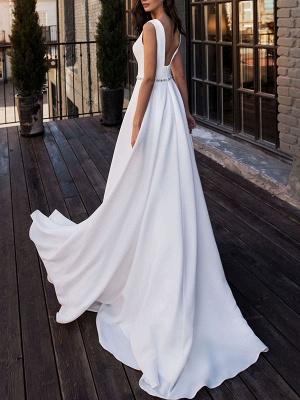Simple Wedding Dress Satin Fabric V Neck Sleeveless Sash A Line Floor Length Bridal Gowns_2