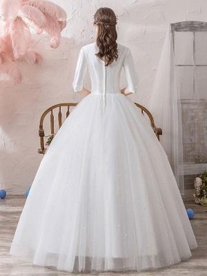 Vintage Wedding Dresses Princess High Collar Half Sleeve Floor Length Tulle Traditional Bridal Gowns_4