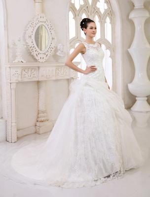 Elfenbeinfarbenes Duchesse-Linienkleid mit Juwelen-Ausschnitt und Pailletten Kapelle-Schleppe-Brautkleid exklusiv für die Braut_3