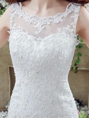 White Wedding Dress Lace Backless Bridal Dresses Rhinestones Beaded Mermaid Wedding Gown_5