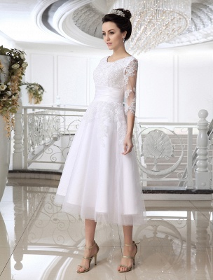 Einfache Brautkleider 2021 Kurze Spitze Applique Illusion Halbarm Tee Länge Brautkleid Exklusiv_3