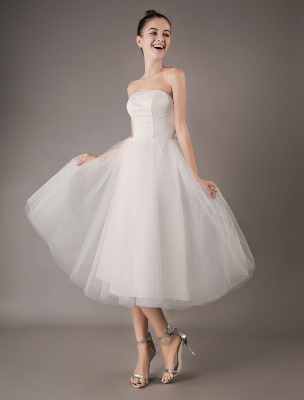 Vestidos de novia vintage Vestido de novia corto de tul sin tirantes hasta el té Exclusivo_6