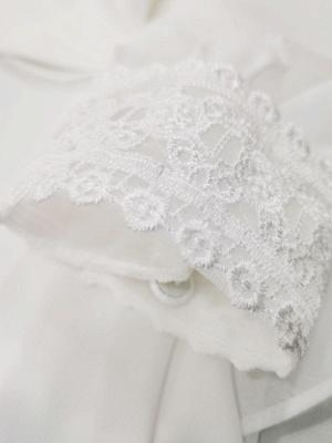 Elfenbein Einfaches Brautkleid mit Zug A-Linie V-Ausschnitt mit langen Ärmeln Spitze Brautkleider_7