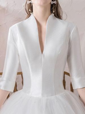Vintage Wedding Dresses Princess High Collar Half Sleeve Floor Length Tulle Traditional Bridal Gowns_8