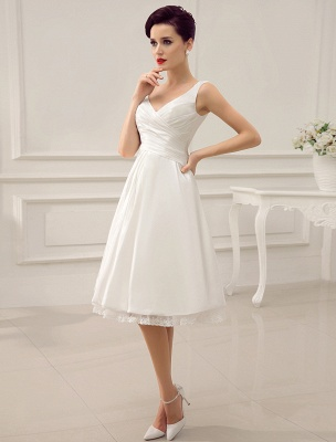 Simple Wedding Dresses Ivory Wedding Dress Knee-Length Backless Straps Lace Bridal Dress Exclusive_3