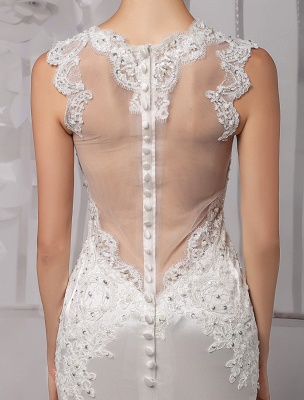 Sexy Lace Deep V-Neck Beaded Sheath/Column Illusion Back Bridal Gown Exclusive_7