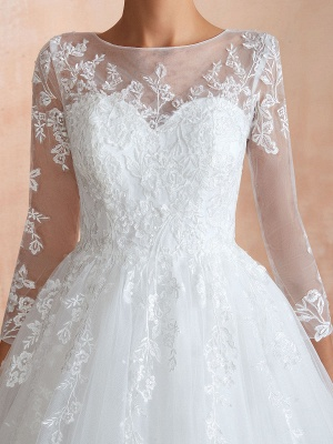 Wedding Gown 2021 3/4 Sleeve Jewel Neck Lace Appliqued Beaded Ball Gown Bridal Wedding Dress With Train_10