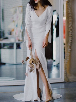White Simple Wedding Dress Satin Fabric V-Neck Long Sleeves Buttons Mermaid Bridal Gowns_2