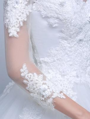 Prinzessin Ballkleid Brautkleider Langarm Spitze Illusion Elfenbein bodenlangen Brautkleid_6