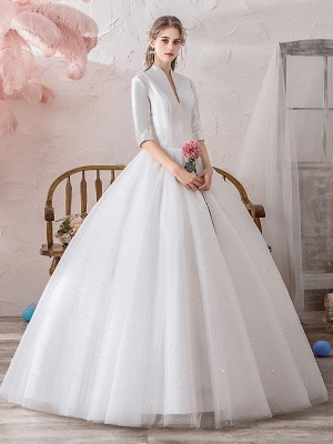 Vintage Wedding Dresses Princess High Collar Half Sleeve Floor Length Tulle Traditional Bridal Gowns_3