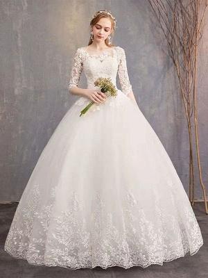 Robes de mariée Eric White Jewel Neck Half-Manches Soft Tulle Lace Up Floor Length Robes de mariée_5