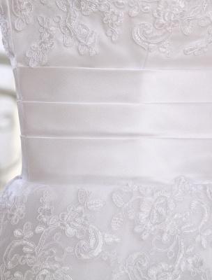 Einfache Brautkleider 2021 Kurze Spitze Applique Illusion Halbarm Tee Länge Brautkleid Exklusiv_8