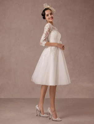 Short Wedding Dress Vintage Lace Applique Long Sleeves Tea Length A Line Tulle Bridal Gown With Flower Sash Exclusive_7