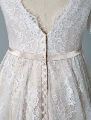 Einfaches Hochzeitskleid 2021 V-Ausschnitt A-Linie Kurzarm Tiefes V Backless Lace Brautkleider_8