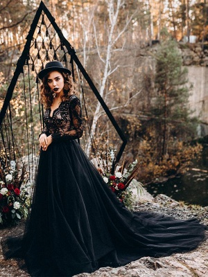 Black Wedding Dresses A-Line Designed Neckline Long Sleeves Natural Waistline Tulle Lace Sweep Bridal Gown_3