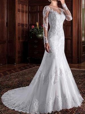 Vintage Hochzeit Brautkleid Mantel Illusion Hals Langarm Spitze Applique Brautkleider mit Zug_2