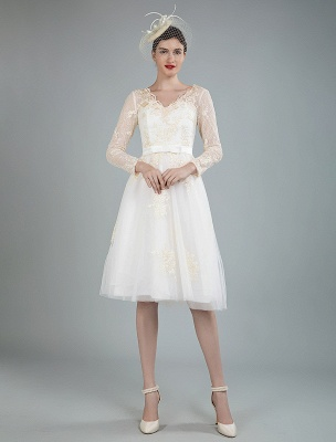 Short Wedding Dress Tulle Knee Length V Neck Long Sleeves A Line Natural Waist Bridal Gowns Exclusive_7