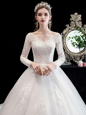 Robe de mariée blanche robe de bal train cathédrale col bijou manches 3/4 taille naturelle appliques en satin tissu robes de mariée_4