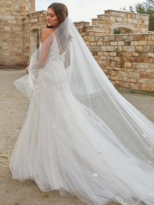 White Wedding Dress Chapel Train A-Line Sleeveless Matte Satin V-Neck Lace Tulle Bridal Dresses_3