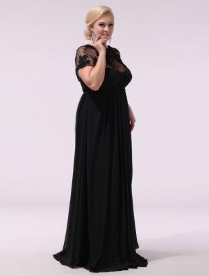 Black Prom Dresses Plus Size Evening Dress Chiffon Lace Applique Illusion Short Sleeves Floor Length Wedding Guest Dress Exclusive_6