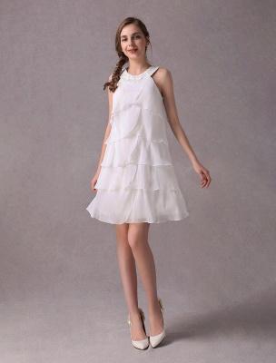 Einfache Brautkleider Elfenbein Chiffon Cocktailpartykleid Perlen Tiered A Line Halfter Kurzes Brautkleid Exklusiv_1