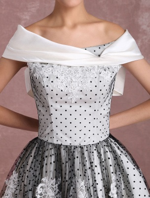 Black Wedding Dresses Vintage Short Bridal Gown Lace Off The Shoulder Polka Dot Print Bridal Dress With Bow At Back Exclusive_8