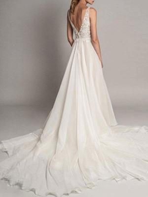 Simple Wedding Dress 2021 A Line V Neck Sleeveless Beaded Bridal Dresses With Train_2
