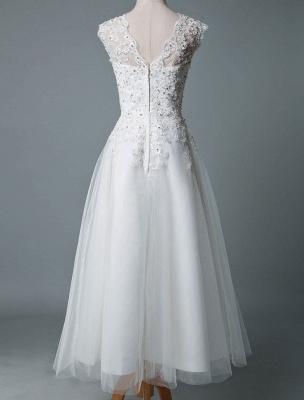 Vestido de novia vintage Hasta el té Cuello joya Sin mangas Una línea Cintura natural Tul Vestido de novia corto Exclusivo_3