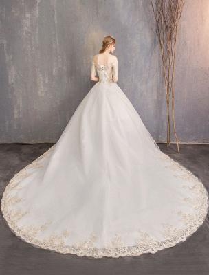 Tulle Wedding Dress Off The Shoulder Half Sleeve Princess Bridal Gown_15