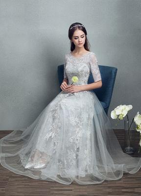 Robes de mariée d'été 2021 dentelle grise appliques Maxi robe de mariée dos nu demi-manches étage longueur robe de mariée_6