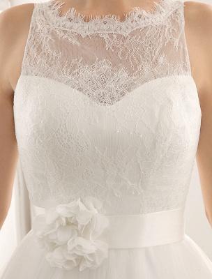Bateau Neck Wedding Dress With Chapel Train_7