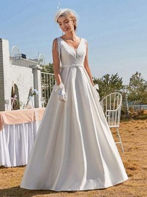 White Intage Wedding Dress V-Neck Sleeveless Natural Waist Satin Fabric Floor-Length Fringe Traditional Dresses For Bride_1