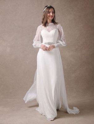 Weiße Brautkleider Langarm Spitze Chiffon Perlenstickerei Schärpe Illusion Strand Brautkleid Mit Zug Exklusiv_6