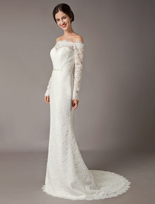 Lace Wedding Dresses Off The Shoulder Long Sleeve Beaded Sash Bridal Gowns With Train_1