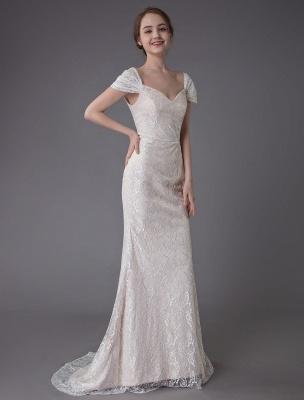 Robe de mariée en dentelle crème vanille chérie robe de mariée à manches courtes robe de mariée sirène avec train exclusif_6