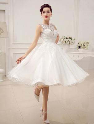 Kurze Brautkleider Vintage 1950er Brautkleid rückenfrei Spitze Perlen Plissee Pailletten Illusion Hochzeitsempfang Kleid mit exklusiven_4