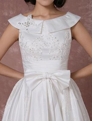 Vintage Wedding Dress Satin Short Bridal Gown Lace Beading Tea Length Reception Bridal Dress Detachable Bow Sash Exclusive_9