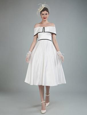 Vintage Brautkleider Satin Schulterfrei A Line Tee Länge Kurze Brautkleider Exklusiv_5