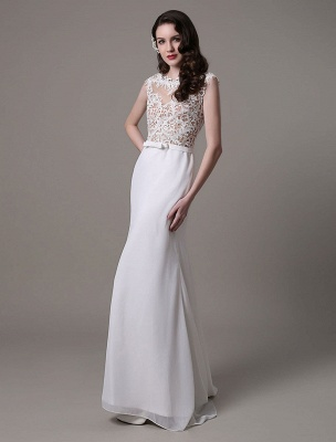 Vintage Wedding Dress Lace And Chiffon Sheath With Stunning Bateau Illusion Neckline And Illusion Back Exclusive_2