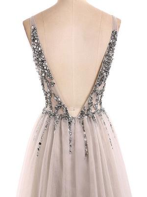 Boho Wedding Dress 2021 A Line Deep V Neck Sleeveless Straps Split Front Floor Length Prom Dresses_6