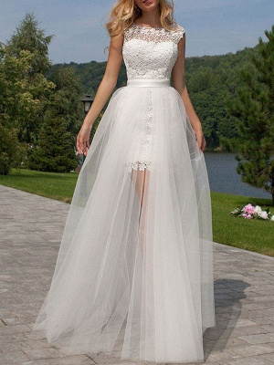 Short Wedding Dress 2021 Lace Jewel Neck Sleeveless Bridal Gowns With Panel Train_2