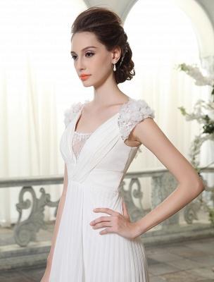 Beach Wedding Dresses V Neck Chiffon Summer Bridal Dress Chiffon Flowers Beading Pleated Floor Length Wedding Gown Exclusive_5