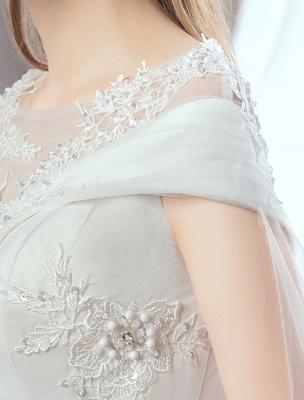 Vestidos de novia de princesa Encaje Watteau Tren Apliques Vestidos de novia de marfil con cuentas_7